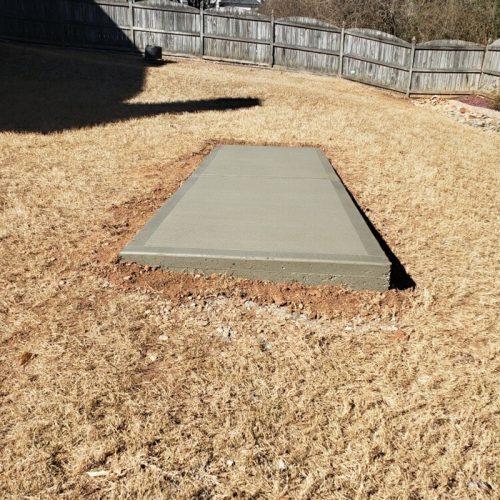 concrete slab in backyard